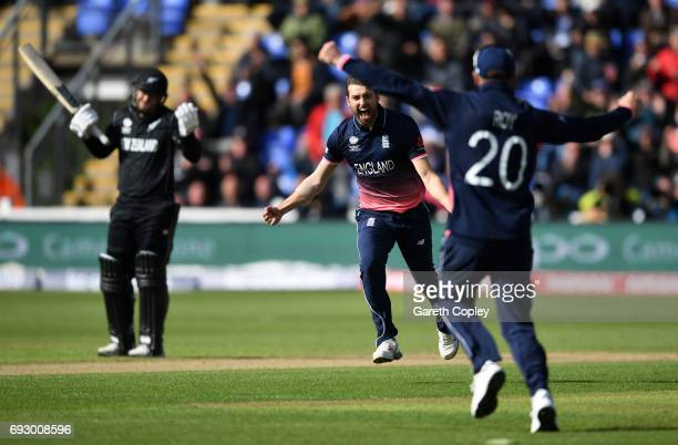 Mark Wood of England celebrates dismissing Kane Williamson of New Zealand during the ICC Champions Trophy match between England v New Zealand at...