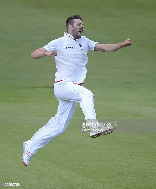 Mark Wood of England celebrates dismissing Martin Guptill of New Zealand during day three of 2nd Investec Test match between England and New Zealand...