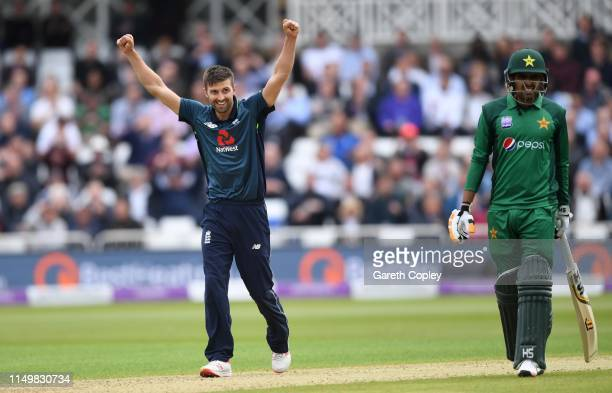 Mark Wood of England celebrates dismissing Mohammad Hafeez of Pakistan during the 4th One Day International between England and Pakistan at Trent...