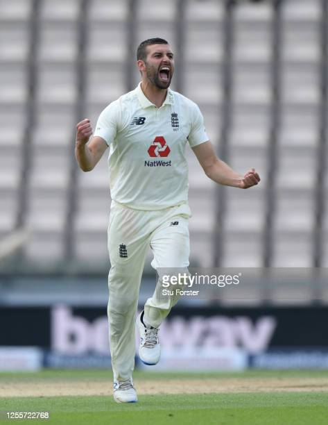Mark Wood of England celebrates dismissing Shai Hope of the West Indies during day five of the 1st #RaiseTheBat Test match at The Ageas Bowl on July...