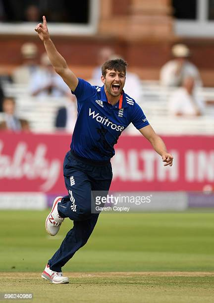 Mark Wood of England celebrates dismissing Sharjeel Khan of Pakistan during the 2nd One Day International match between England and Pakistan on...