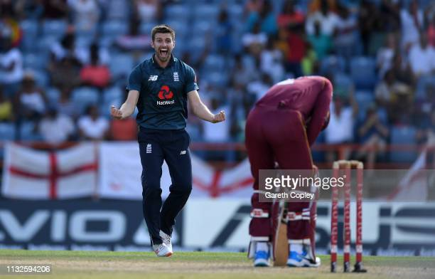 Mark Wood of England celebrates dismissing Shimron Hetmyer of the West Indies during the 4th One Day International match between the West Indies and...