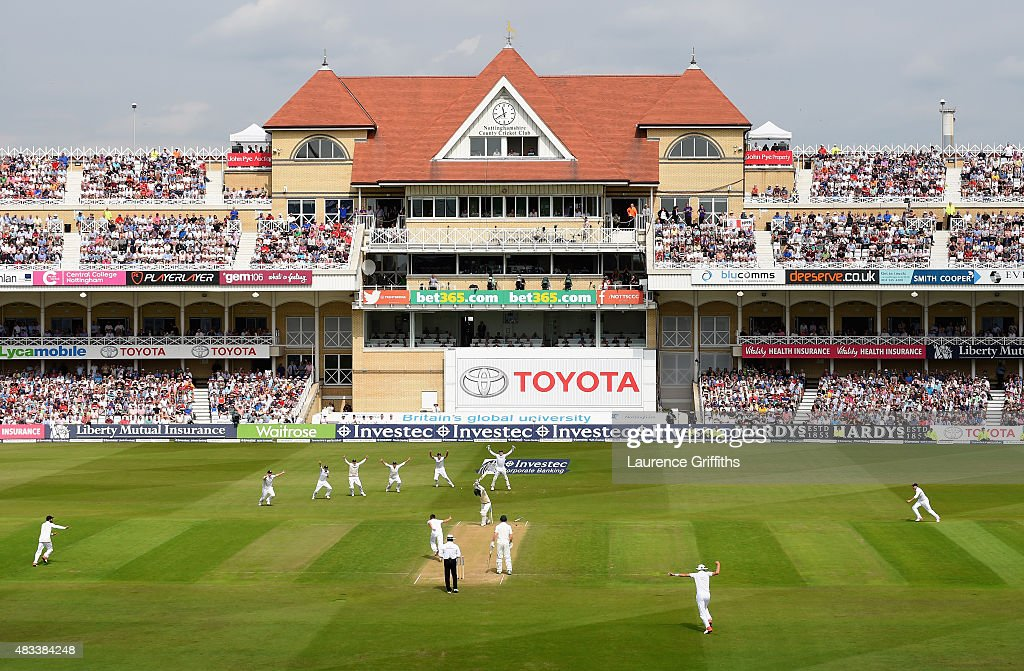 Mark Wood of England celebrates taking the final wicket to win the Ashes that of Nathan Lyon of Australia during day three of the 4th Investec Ashes Test match between England and Australia at Trent Bridge on August 8, 2015 in Nottingham, United Kingdom.