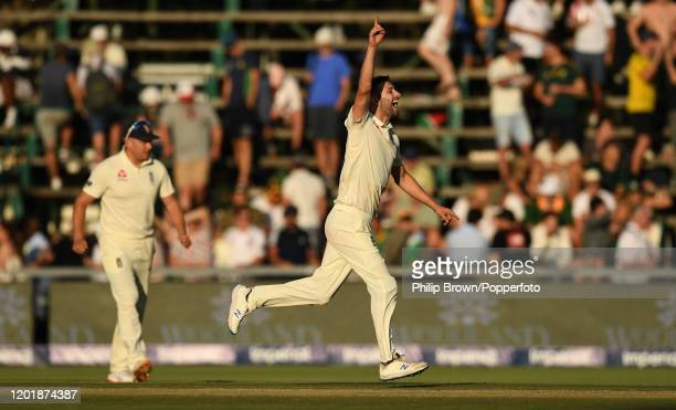 Mark Wood of England celebrates the dismissal of Temba Bavuma of South Africa during Day Two of the Fourth Test between England and South Africa on...