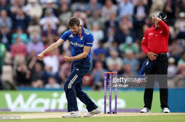 Mark Wood of England celebrates the wicket of Brendan McCullum of New Zealand during the 3rd ODI Royal London OneDay Series 2015 between England and...