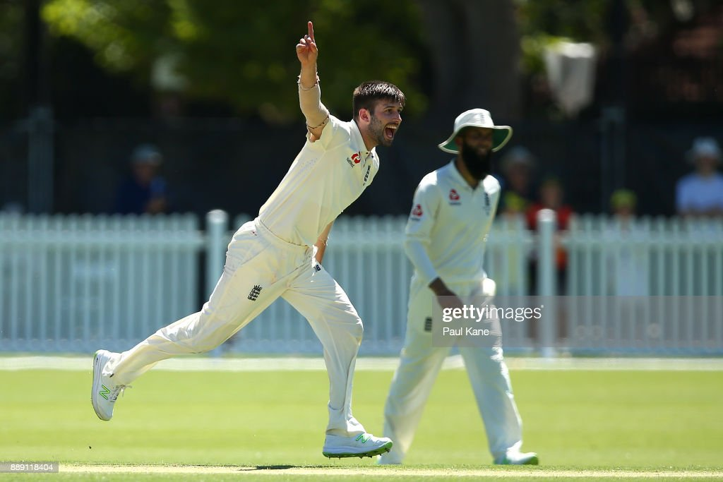 Mark Wood of England celebrates the wicket of Travis Dean of the CA XI during the Two Day tour match between the Cricket Australia CA XI and England at Richardson Park on December 10, 2017 in Perth, Australia.
