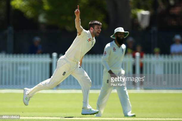 Mark Wood of England celebrates the wicket of Travis Dean of the CA XI during the Two Day tour match between the Cricket Australia CA XI and England...