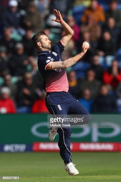 Mark Wood of England during the ICC Champions Trophy match between England and New Zealand at the SWALEC Stadium on June 6 2017 in Cardiff Wales