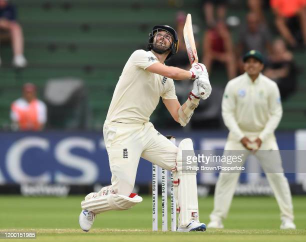 Mark Wood of England hits out during Day Two of the Third Test between England and South Africa on January 17, 2020 in Port Elizabeth, South Africa.