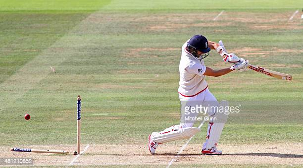 Mark Wood of England is bowled out by Josh Hazlewood of Australia during day three of the 2nd Investec Ashes Test match between England and Australia...