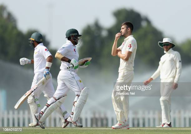 Mark Wood of England Lions looks on during day four of the tour match between England Lions and Pakistan A at Sheikh Zayed Stadium Nursery 1 on...