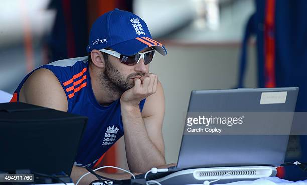 Mark Wood of England sits out practice during a nets session at Sharjah Cricket Stadium on October 30 2015 in Sharjah United Arab Emirates