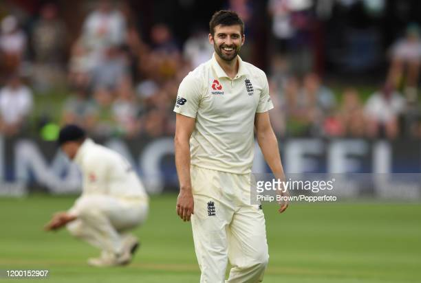 Mark Wood of England smiles during Day Two of the Third Test between England and South Africa on January 17, 2020 in Port Elizabeth, South Africa.