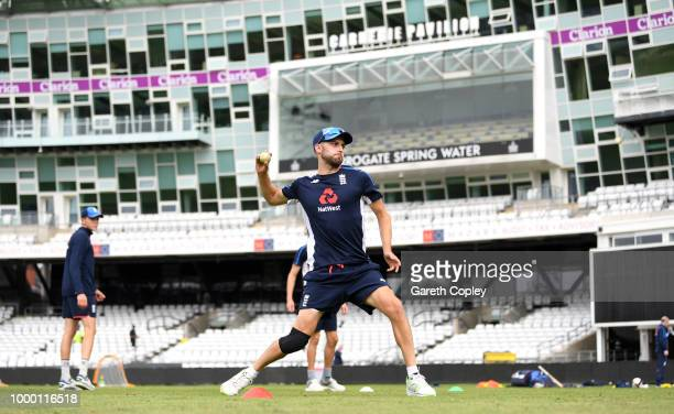 Mark Wood of England takes part in a fielding drill during a net session at Headingley on July 16 2018 in Leeds England