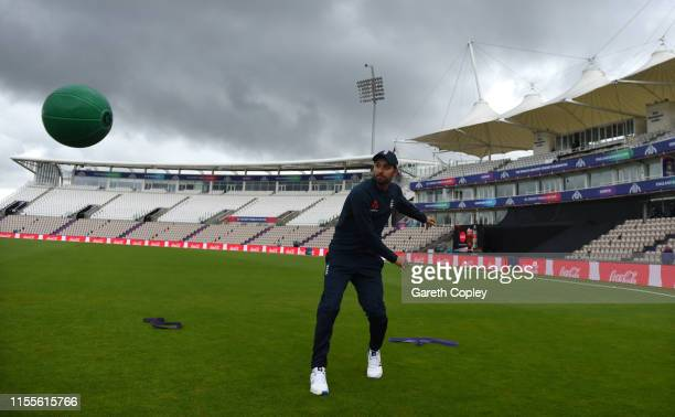 Mark Wood of England throws a medicine ball during a nets session at The Ageas Bowl on June 13 2019 in Southampton England