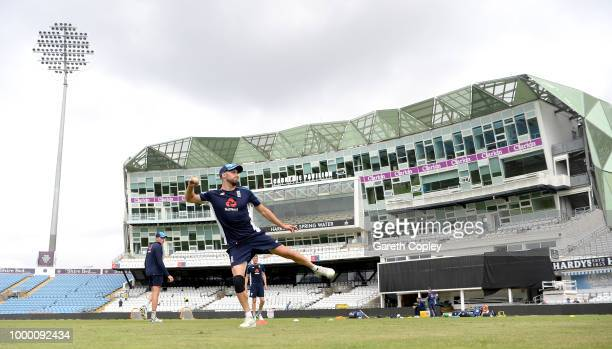 Mark Wood of England throws during a net session at Headingley on July 16 2018 in Leeds England