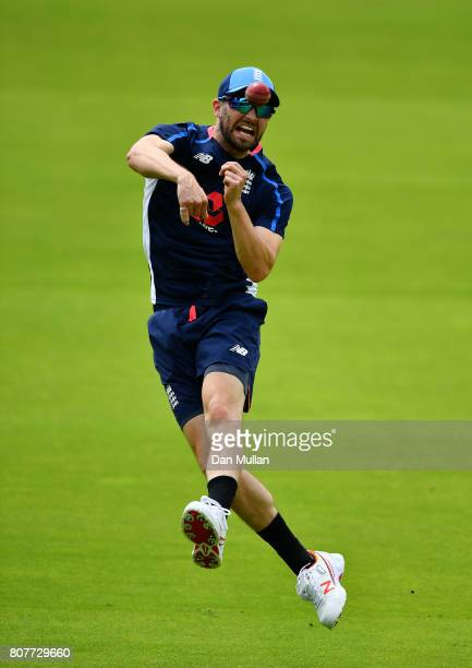 Mark Wood of England throws during an England Net Session at Lord's Cricket Ground on July 4 2017 in London England