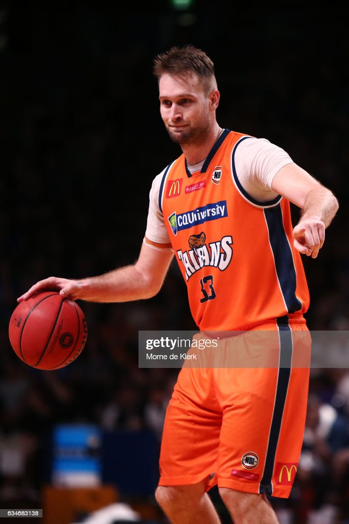 Mark Worthington of the Cairns Taipans holds the ball up during the round 19 NBL match between the Adelaide 36ers and the Cairns Taipans at Titanium Security Arena on February 11, 2017 in Adelaide, Australia.