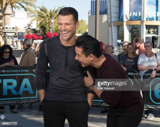 Mark Wright and Mario Lopez visit 'Extra' at Universal Studios Hollywood on December 5 2017 in Universal City California