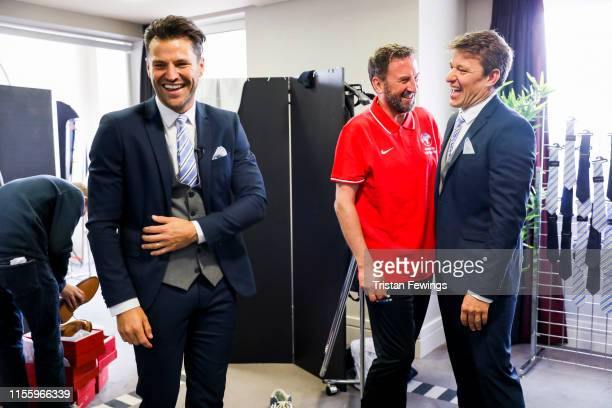 Mark Wright, Lee Mack and Ben Shephard attend the Matalan suit fitting for Soccer Aid at Chelsea Harbour Hotel on June 13, 2019 in London, England....