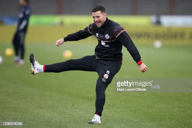 Mark Wright of Crawley Town warms up ahead of the FA Cup Third Round match between Crawley Town and Leeds United at The Peoples Pension Stadium on...
