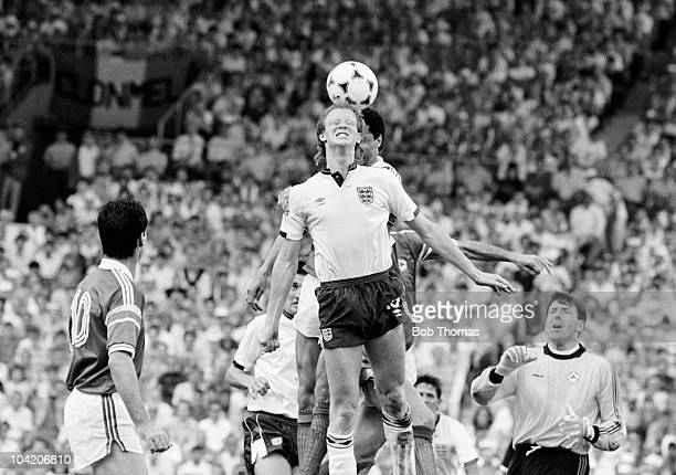 Mark Wright of England heads the ball during a European Championship match against the Republic of Ireland held in Stuttgart on 12th June 1988...