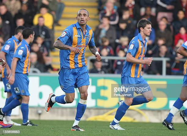 Mark Wright of Shrewsbury Town celebrates after scoring his and his sides first goal during the npower League Two match between Northampton Town and...