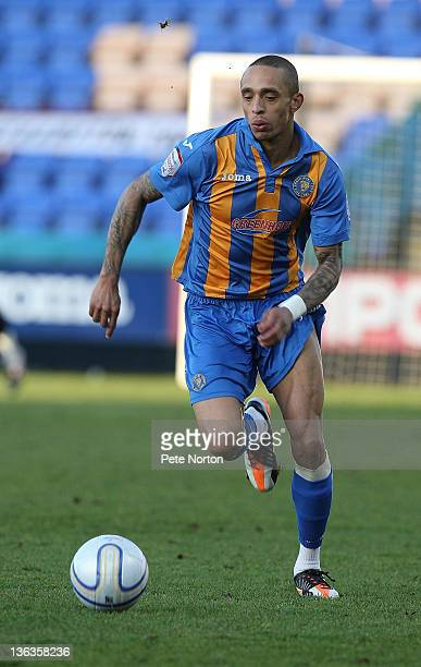 Mark Wright of Shrewsbury Town in action during the npower League Two match between Shrewsbury Town and Northampton Town at the Greenhous Meadow on...