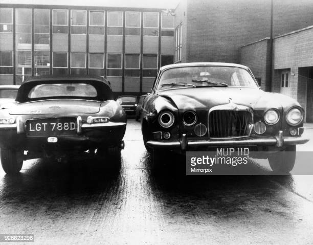 Mark X Jaguar saloon car owned by murder victim Angus Sibbett in which he was found lying across the back seat dead January 1967 Also pictured Etype...