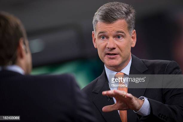Mark Yusko chief executive officer of Morgan Creek Capital Management LLC speaks during an interview in New York US on Thursday Sept 20 2012 Morgan...