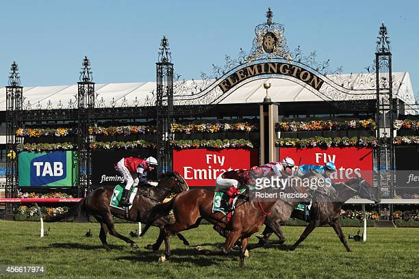 Mark Zahra aboard Fontein Ruby wins race 6 the TAB Edaward Manifold Stakes during Turnbull Stakes Day at Flemington Racecourse on October 4 2014 in...