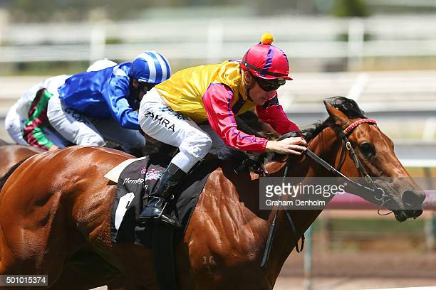 Mark Zahra rides A Lotta Love to win race two Lola and Trish's Handicap as part of Western Health Community Raceday during Melbourne Racing at...