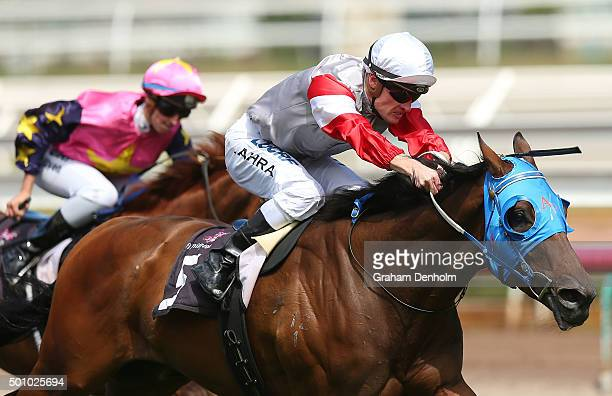 Mark Zahra rides Crimson Cape to win race six the Plenary Group Handicap as part of Western Health Community Raceday during Melbourne Racing at...