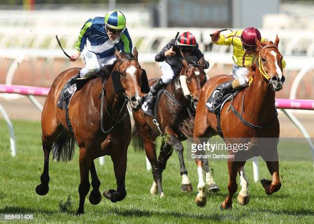Mark Zahra rides Keen Array to win the Gilgai Stakes during Turnbull Stakes Day at Flemington Racecourse on October 7 2017 in Melbourne Australia