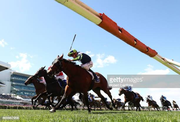 Mark Zahra rides Merchant Navy to win race five the Coolmore Stud Stakes on Derby Day at Flemington Racecourse on November 4 2017 in Melbourne...