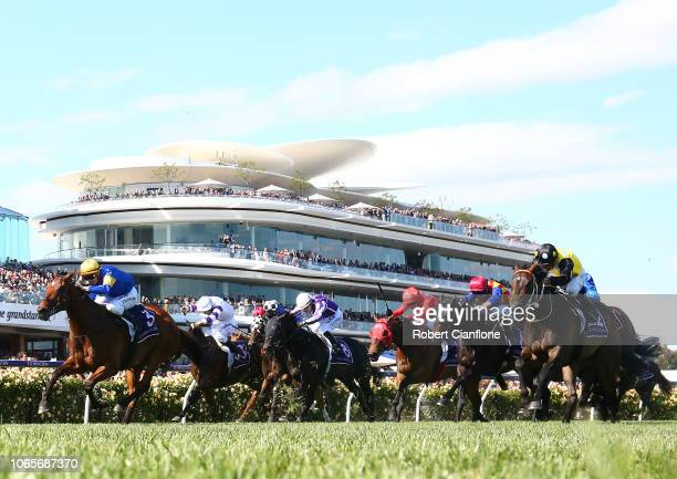 Mark Zahra rides Santa Ana Lane to win race seven the VRC Sprint Classic Stakes during Stakes Day at Flemington Racecourse on November 10 2018 in...