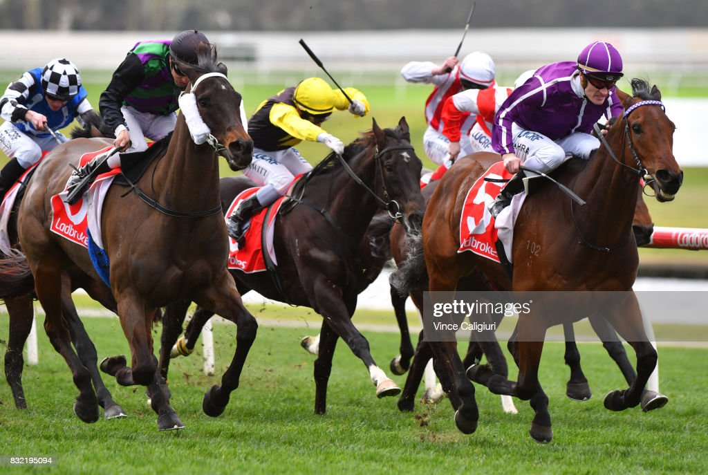 Mark Zahra riding Cannot Be Serios wins Race 2 during Melbourne Racing at Sandown Lakeside on August 16, 2017 in Melbourne, Australia.