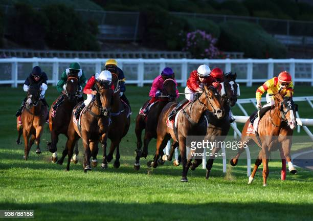 Mark Zahra riding Chess Star wins Race 1 during Melbourne Racing at Moonee Valley Racecourse on March 23 2018 in Melbourne Australia