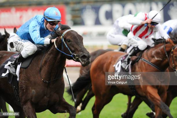 Mark Zahra riding Fontein Ruby wins Race 4 the Joyann Erskine Philip Carroll Handicap during Melbourne Racing at Flemington Racecourse on August 9...