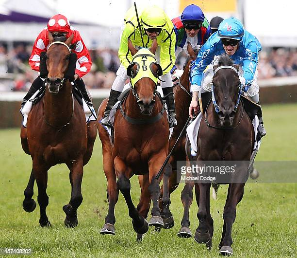 Mark Zahra riding Fontein Ruby wins Race 4 the Racingcom Caulfield Classic during Caulfield Cup Day at Caulfield Racecourse on October 18 2014 in...