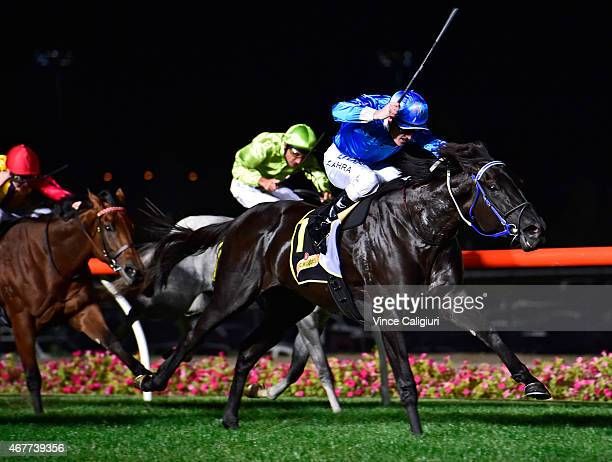 Mark Zahra riding Fontein Ruby wins Race 4 the Schweppes Alexandra Stakes during Melbourne racing at Moonee Valley Racecourse on March 27 2015 in...