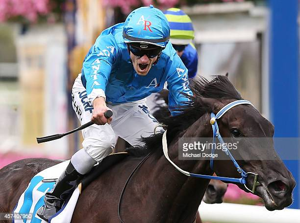 Mark Zahra riding Fontein Ruby wins Race 5 the Sportingbet Moonga Stakes during Caulfield Cup Day at Caulfield Racecourse on October 18 2014 in...