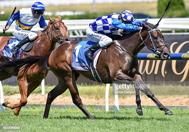 Mark Zahra riding Fontiton winning Race 3 the William Hill Blue Diamond Prelude for fillies during Melbourne Racing at Caulfield Racecourse on...