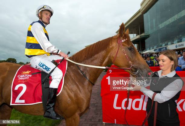 Mark Zahra riding Gailo Chop after winning Race 9 Peter Young Stakes during Melbourne Racing at Caulfield Racecourse on February 24 2018 in Melbourne...
