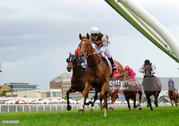 Mark Zahra riding Gailo Chop wins Race 4 Carlyon Cup during Melbourne Racing at Caulfield Racecourse on February 10 2018 in Melbourne Australia