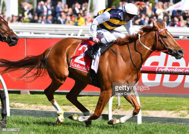 Mark Zahra riding Gailo Chop wins Race 7 Ladbrokes Stakes during Melbourne Racing on Caulfield Guineas Day at Caulfield Racecourse on October 14 2017...