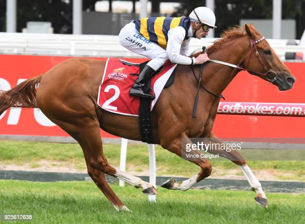 Mark Zahra riding Gailo Chop wins Race 9 Peter Young Stakes during Melbourne Racing at Caulfield Racecourse on February 24 2018 in Melbourne Australia
