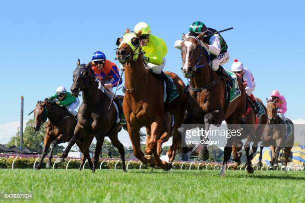Mark Zahra riding He Or She defeats Dwayne Dunn riding Hooked in Race 6 during Melbourne Racing at Flemington Racecourse on March 4 2017 in Melbourne...