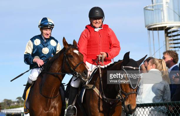 Mark Zahra riding Le Don De Vie after winning Race 9, the Sungold Milk Warrnambool Cup, during the Warrnambool Jumps Carnival at Warrnambool Racing...