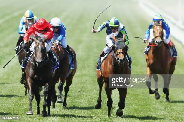 Mark Zahra riding Merchant Navy wins race 5 The Coolmore Stud Stakes Derby Day at Flemington Racecourse on November 4 2017 in Melbourne Australia